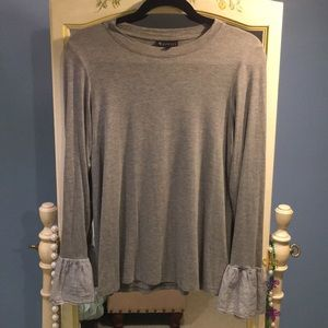 Bobeau gray long sleeve with striped bell sleeves